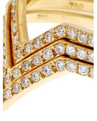 Ileana Makri - Metallic White Diamond & Yellow-Gold Triple V Rings - Lyst