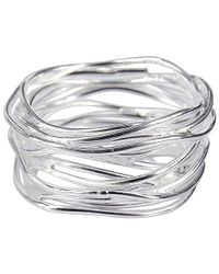 Aeravida | Metallic Modern Wavy Wire Mesh Band Sterling Silver Ring | Lyst