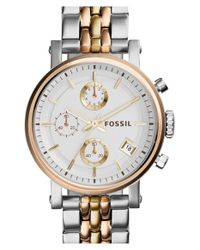 Fossil - Metallic 'original Boyfriend' Chronograph Bracelet Watch - Lyst