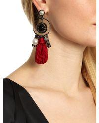 Oscar de la Renta | Red Floral Resin & Faux Pearl Clip-on Stud Earrings | Lyst