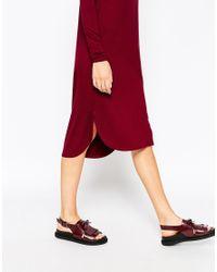 ASOS   Midi Dress With Curved Hem - Black   Lyst