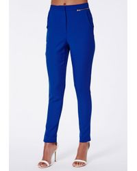 Missguided - Ratka Blue High Waisted Cigarette Trousers - Lyst