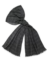 Calvin Klein - Black White Label Jacquard Logo Scarf - Lyst