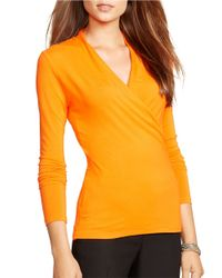 Lauren by Ralph Lauren | Orange Petite Jersey Mock Wrap Top | Lyst