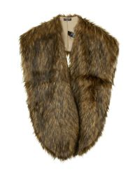 TOPSHOP - Brown Oversized Faux Fox Stole - Lyst