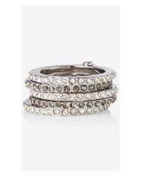 Express - Metallic Pave Hinge Stack Ring - Lyst