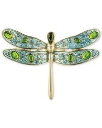 Jones New York - Green Gold-Tone Epoxy Stone And Crystal Dragonfly Pin - Lyst