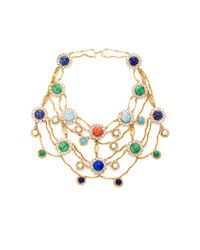 Carole Tanenbaum | Metallic 1950S Signed Original By Robert Gold Necklace With Multi Cabochons And Diamante | Lyst