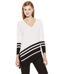 Vince Camuto - Black Striped Asymmetrical Sweater - Lyst