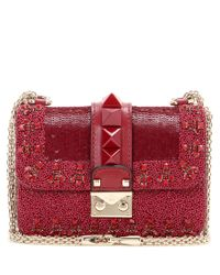Valentino | Red Lock Mini Embellished Leather Shoulder Bag | Lyst