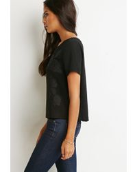 Forever 21 - Black Zip-back Embroidered Top - Lyst