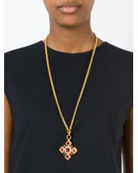 Louis Feraud Vintage | Metallic Cross Pendant Necklace | Lyst