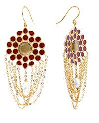 Isharya | Red Vintage Rani Round Wine Earrings | Lyst