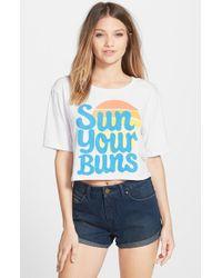 Billabong - White 'sun Ur Buns' Crop Tee - Lyst