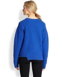 Opening Ceremony - Blue Asymmetrical Zip Ribbed Wool Sweater - Lyst
