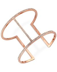 Vince Camuto | Pink Rose Gold-Tone Pavé T-Bar Cuff Bracelet | Lyst