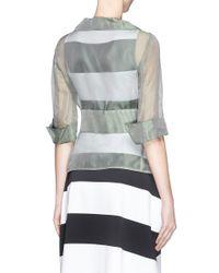 Armani - Green Belted Silk Organza Gauze Jacket - Lyst