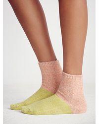 Free People | Orange Hansel From Basel Womens Juniper Colorblock Boot Sock | Lyst