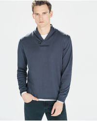 Zara | Blue Sweater With Leather Appliqués for Men | Lyst