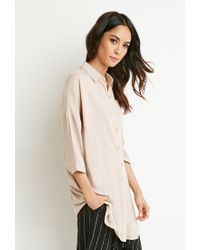 Forever 21 - Natural Boxy Longline Shirt - Lyst