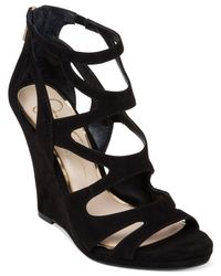 Jessica Simpson | Black Delina Caged Wedge Sandals | Lyst