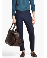 Mango - Blue Patterned Suit Trousers for Men - Lyst