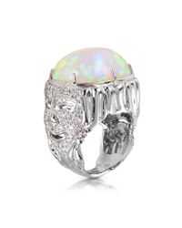 Bernard Delettrez - Metallic Drama Masks Gold Pave Ring W/opal And Diamonds - Lyst