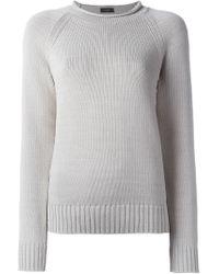 JOSEPH - Gray Side Detail Knitted Jumper - Lyst