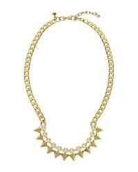 Rebecca Minkoff - Metallic Gold-Tone Faux Pearl & Spike Necklace - Lyst
