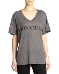 Wildfox - Gray 'Anonymous' Printed Tee - Lyst