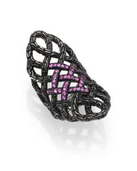 John Hardy | Classic Chain Pink Sapphire  Blackened Sterling Silver Saddle Ring | Lyst