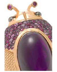 Daniela Villegas | Pink 18-karat Rose Gold Amethyst, Ruby And Sapphire Ring | Lyst