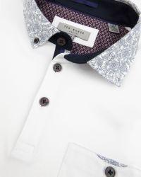 Ted Baker - White Allfor Floral Print Collar Polo Shirt for Men - Lyst