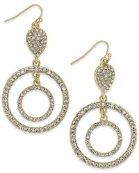 INC International Concepts | Metallic Gold-tone Crystal Accent Double Circle Drop Earrings | Lyst