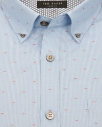 Ted Baker | Blue Striped Fil Coupé Shirt for Men | Lyst
