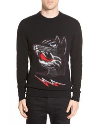 DIESEL | Green 'baddog' Wool Blend Crewneck Sweater for Men | Lyst
