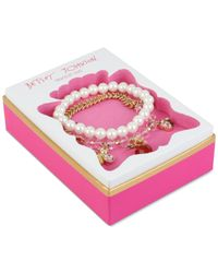 Betsey Johnson | Metallic Gold-tone Charm And Imitation Pearl Stretch Bracelet Set | Lyst