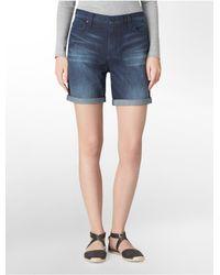 Calvin Klein | Blue Jeans Dark Wash Bermuda Shorts | Lyst