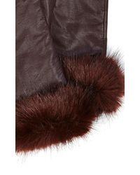 Karen Millen - Purple Fur Trim Glove - Lyst