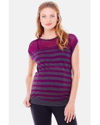 Ingrid & Isabel | Gray Stripe Mesh Maternity Top | Lyst