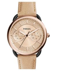 Fossil - Metallic 'tailor' Multifunction Leather Strap Watch - Lyst