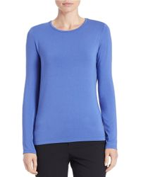 Lord & Taylor - Blue Petite Iconic Fit Crewneck Sweater - Lyst