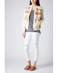 TOPSHOP - Natural Bird Embroidered Bomber Jacket - Lyst