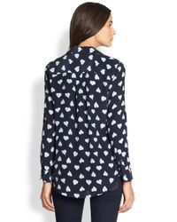 Equipment - Black Slim Signature Silk Heartprint Shirt - Lyst
