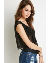 Forever 21 - Black Embroidered Chiffon Off-the-shoulder Top - Lyst