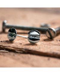 Edge Only   Metallic Round-head Screw Earrings Silver   Lyst