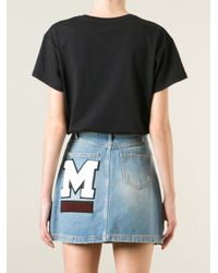 MSGM   Black Logo Print T-Shirt   Lyst