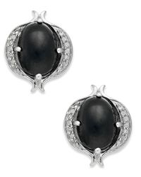 Macy's | Metallic Sterling Silver Earrings, Onyx (2-3/4 Ct. T.w.) And Diamond (1/6 Ct. T.w.) Stud Earrings | Lyst