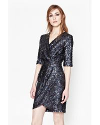 French Connection | Gray Lunar Sparkle Sequin Wrap Dress | Lyst
