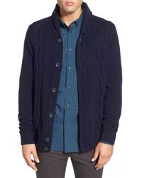Ben Sherman | Blue 'the Cable' Shawl Collar Cardigan for Men | Lyst